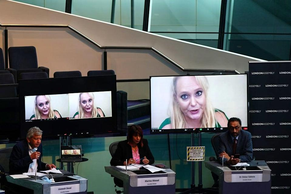 Ms Arcuri giving evidence over video link (PA)
