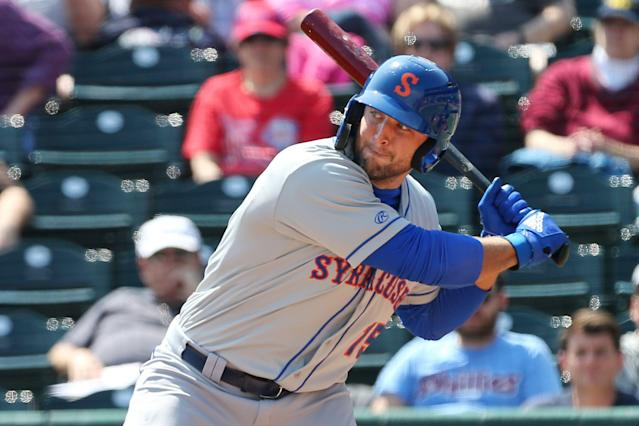 Tim Tebow hit a home run on Sunday afternoon, marking his first career Triple-A homer. (Getty Images)