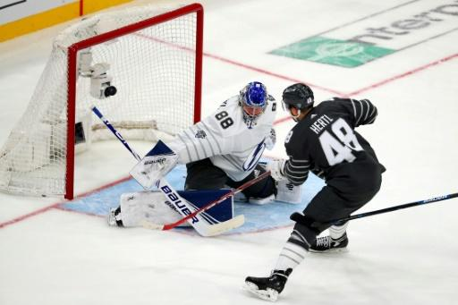 San Jose Sharks Tomas Hertl makes a move on goaltender Andrei Vasilevskiy  of the Tampa Bay Lightning in the 2020 NHL all-star game in St. Louis