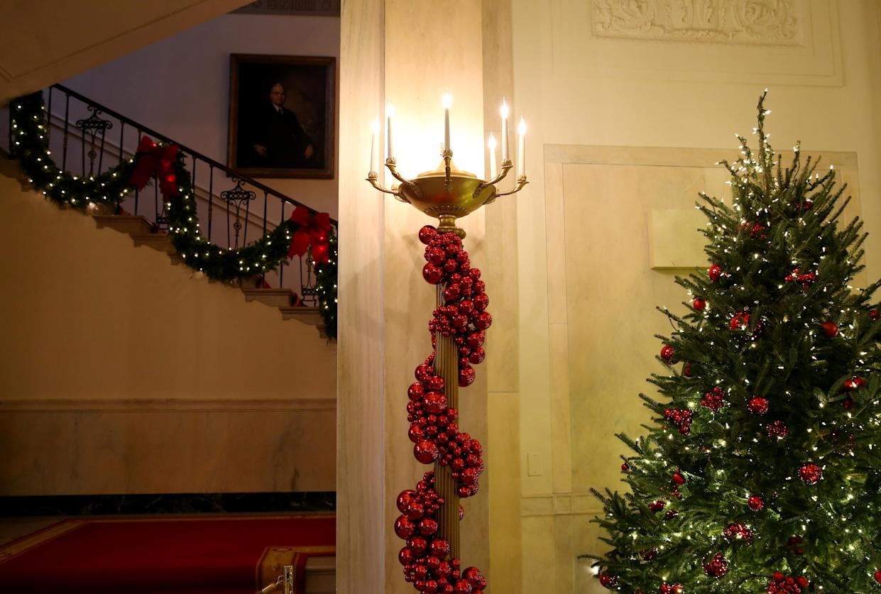 The Grand Foyer is filled with Christmas decorations during the 2018 Christmas Press Preview at the White House in Washington, D.C., Nov. 26, 2018. (Photo: Leah Millis/Reuters)