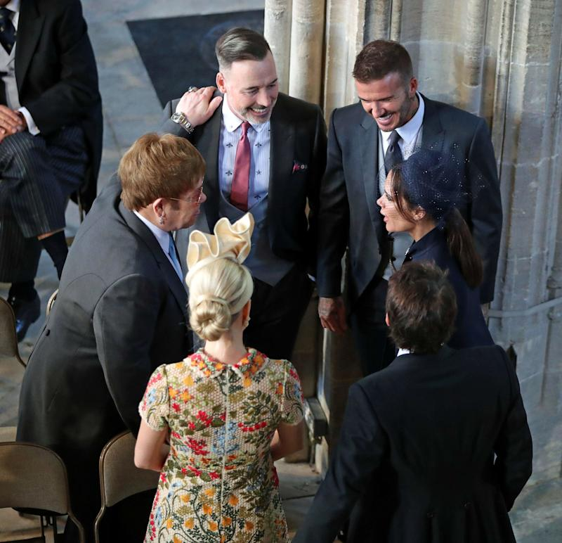 Sir Elton and his husband were seen leading a conversation with the Beckhams, as well as James Blunt and his wife,&nbsp;Sofia Wellesley.<br /><br />Of course, Sir Elton&rsquo;s relationship with the royals, in particular Princes William and Harry, goes way back, as the singer was close with their late mother, Princess Diana, even famously performing a rewritten version of &lsquo;Candle In The Wind&rsquo; at her funeral.