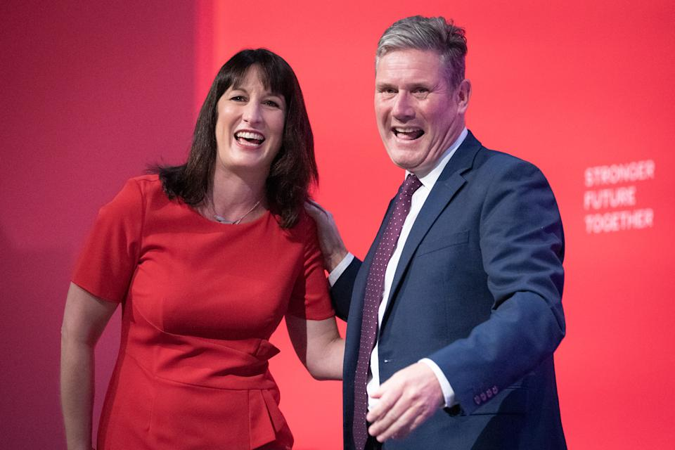 Shadow Chancellor of the Exchequer, Rachel Reeves with Labour Party leader, Keir Starmer after addressing the Labour Party conference in Brighton. Picture date: Monday September 27, 2021.