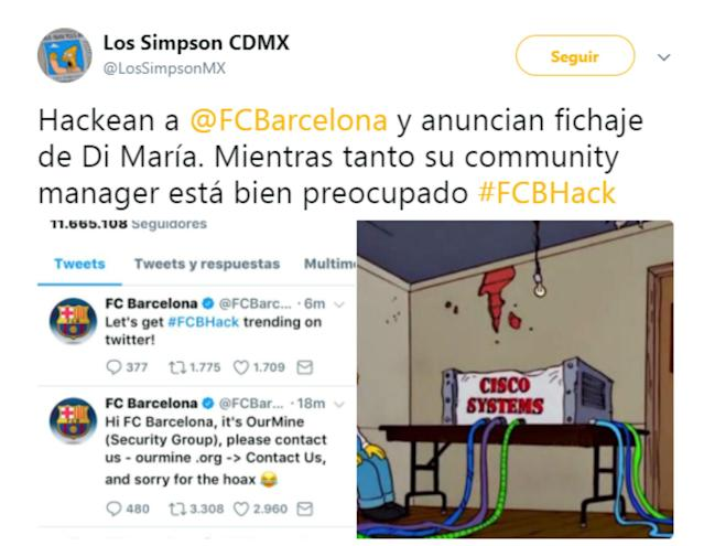 <p>Mientras, el community manager del club. (Foto: Twitter / @LosSimpsonMX). </p>