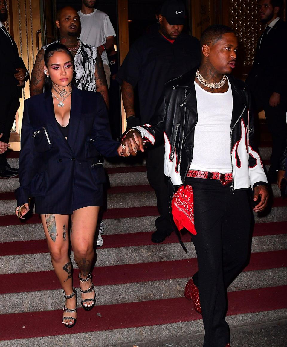 """The musicians made their <a href=""""https://people.com/music/rapper-yg-kehlani-dating/"""" rel=""""nofollow noopener"""" target=""""_blank"""" data-ylk=""""slk:debut as a couple"""" class=""""link rapid-noclick-resp"""">debut as a couple</a> at New York Fashion Week on Sept. 5. The two walked hand-in-hand into the Kith show, and when reporters asked if they were """"official,"""" Kehlani confirmed the news by saying, """"Mhmm."""" The surprise sighting comes just months after the pair welcomed babies with other people. In March, Kehlani <a href=""""https://people.com/parents/kehlani-welcomes-daughter-adeya-nomi/"""" rel=""""nofollow noopener"""" target=""""_blank"""" data-ylk=""""slk:gave birth to her first child"""" class=""""link rapid-noclick-resp"""">gave birth to her first child</a>, daughter Adeya Nomi with guitarist Javie Young-White, and in July, YG welcomed a second baby girl, Vibe Jackson, with Catelyn Sparks. The rapper and Sparks also share 3-year-old daughter Harmony."""