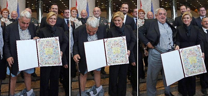 A montage of photos taken on December 8, 2015, captures the moment when Croatia's leading rights-group chief, Ivan Zvonimir Cicak, suffered a wardrobe malfunction during a ceremony with his country's President Kolinda Grabar-Kitarovic in Zagreb