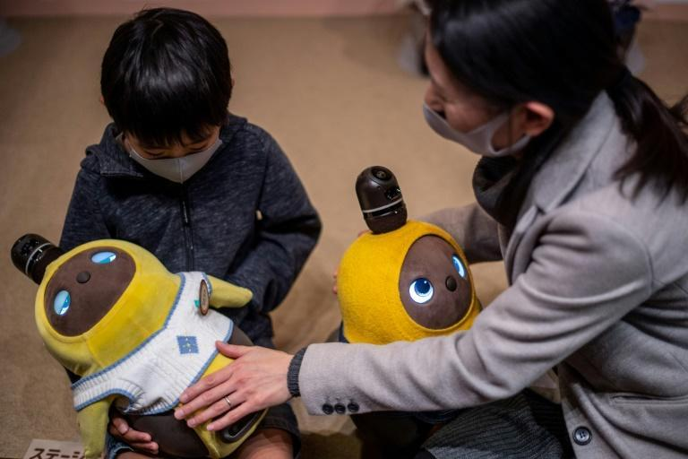 People can visit the Lovot Cafe near Tokyo to interact with the bots, which have big round eyes and penguin-like wings that flutter