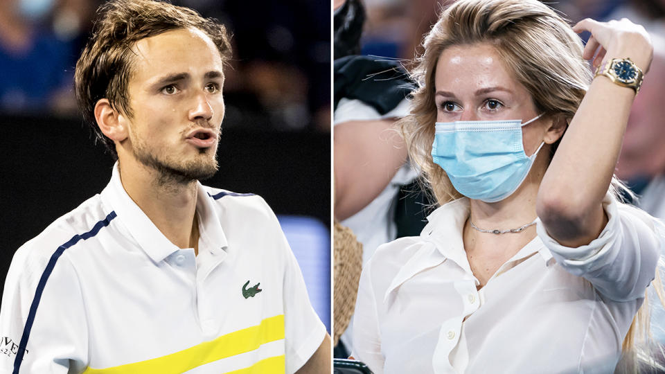 Daniil Medvedev and wife Daria, pictured here during the Australian Open final.