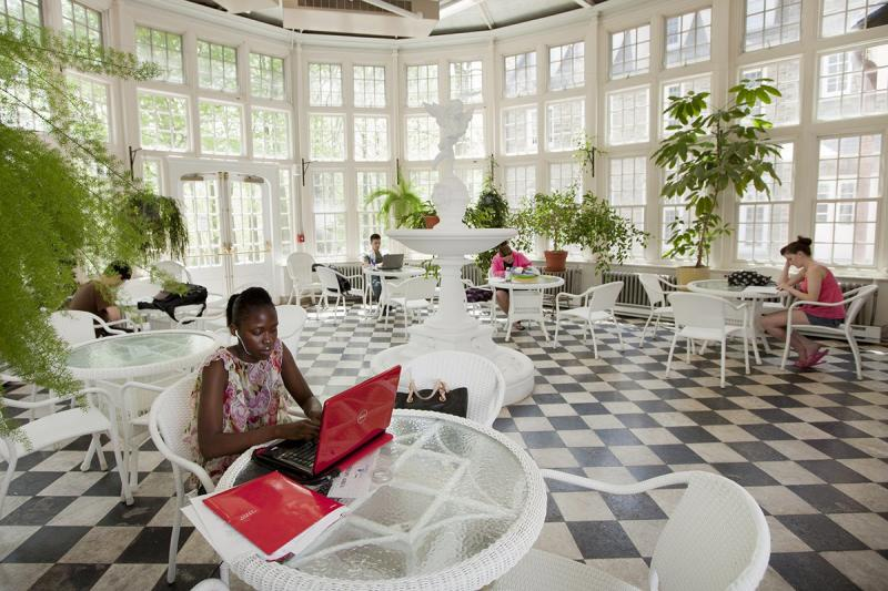 College students study in a solarium
