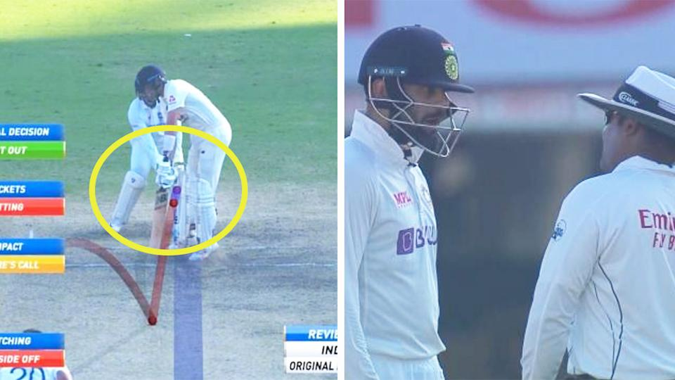 Joe Root (pictured left) being trapped in front of the stumps and Virat Kohli (pictured right under the helmet) arguing with the umpire.