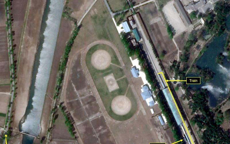 This satellite image provided by Planet Labs and annotated by 38 North, a website specialising in North Korea studies, shows the Leadership Railway Station in Wonsan, North Korea - 2020 Planet Labs Inc./38 North