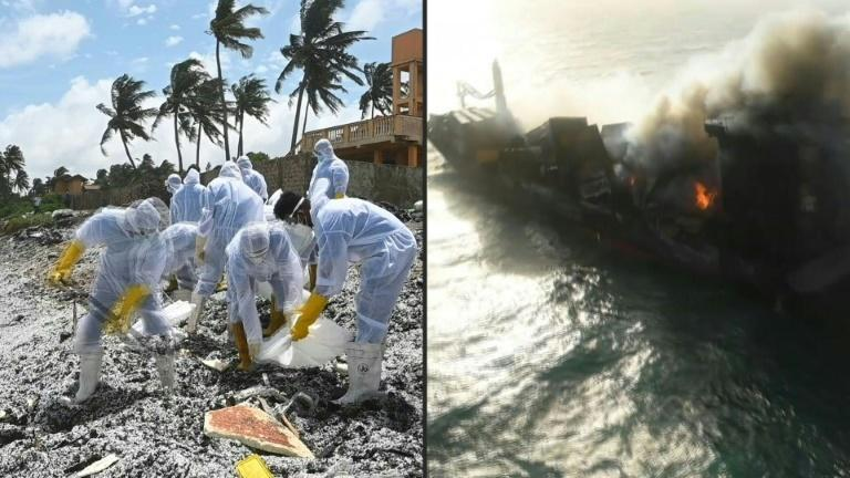 Container ship off Sri Lanka burns on as debris washes ashore