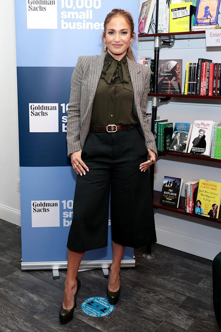 Jennifer Lopez attends the Jennifer Lopez and Goldman Sachs 10,000 Small Business event to celebrate National Hispanic Heritage Month with Latin American business owners at The Lit.  Bar on September 12, 2021 in New York City