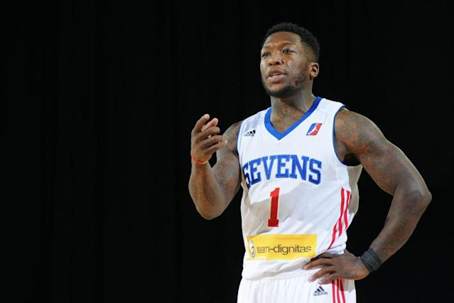 "<a class=""link rapid-noclick-resp"" href=""/college-football/players/278890/"" data-ylk=""slk:Nate Robinson"">Nate Robinson</a> played for the G League's Delaware 87ers in 2017. (Getty Images)"