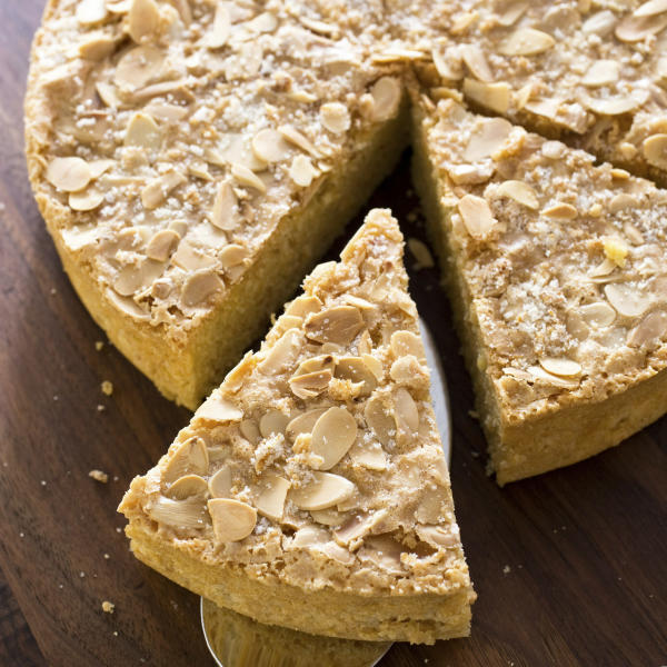 "This undated photo provided by America's Test Kitchen in April 2019 shows an Italian Almond Cake in Brookline, Mass. This recipe appears in the cookbook ""The Perfect Cake."" (Carl Tremblay/America's Test Kitchen via AP)"