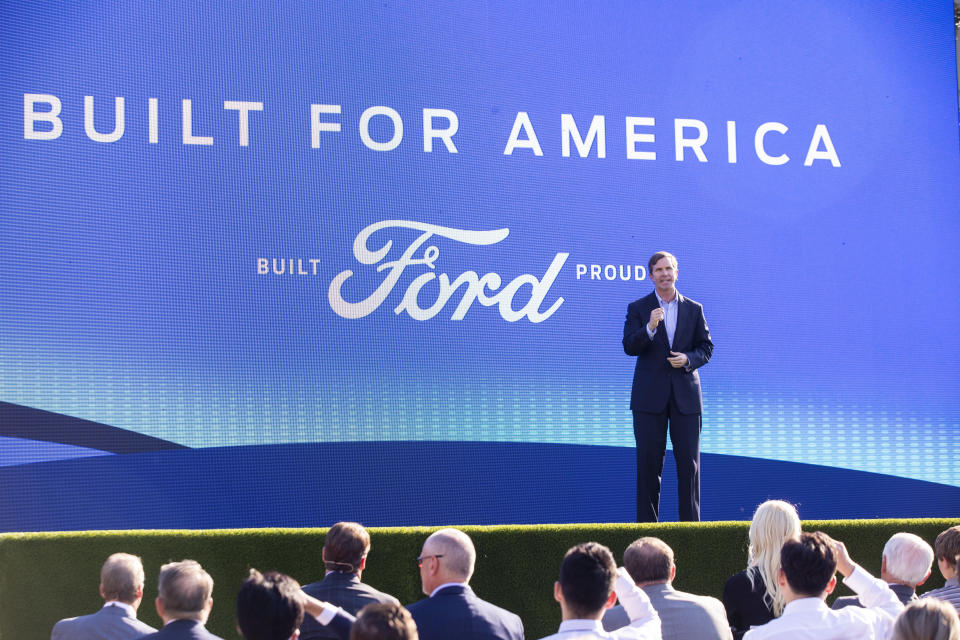 Gov. Andy Beshear speaks during a news conference in front of the capital in Frankfort, Ky., Tuesday, Sept. 28, 2021, to announce that Ford is going to build a battery manufacturing plant in Hardin County. (Silas Walker/Lexington Herald-Leader via AP)