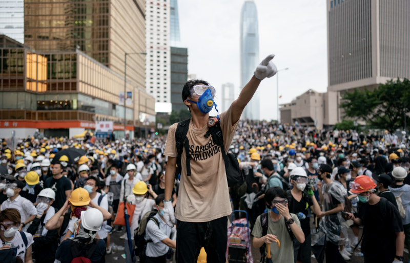 A protester makes a gesture during a protest on June 12, 2019 in Hong Kong, China. (Photo: Anthony Kwan/Getty Images)