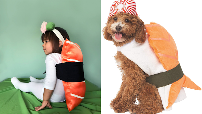 Sibling Halloween costumes: Sushi and soy sauce