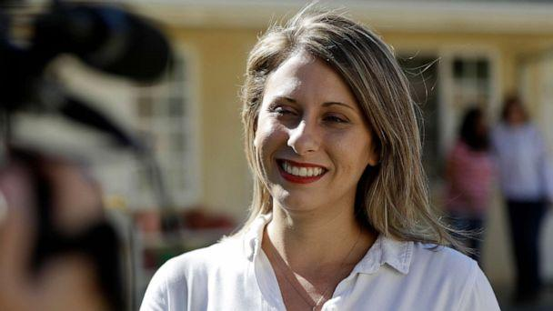 PHOTO: In this Nov. 6, 2018, file photo, Katie Hill speaks during an interview after voting in Agua Dulce, Calif. (Marcio Jose Sanchez/AP, File)