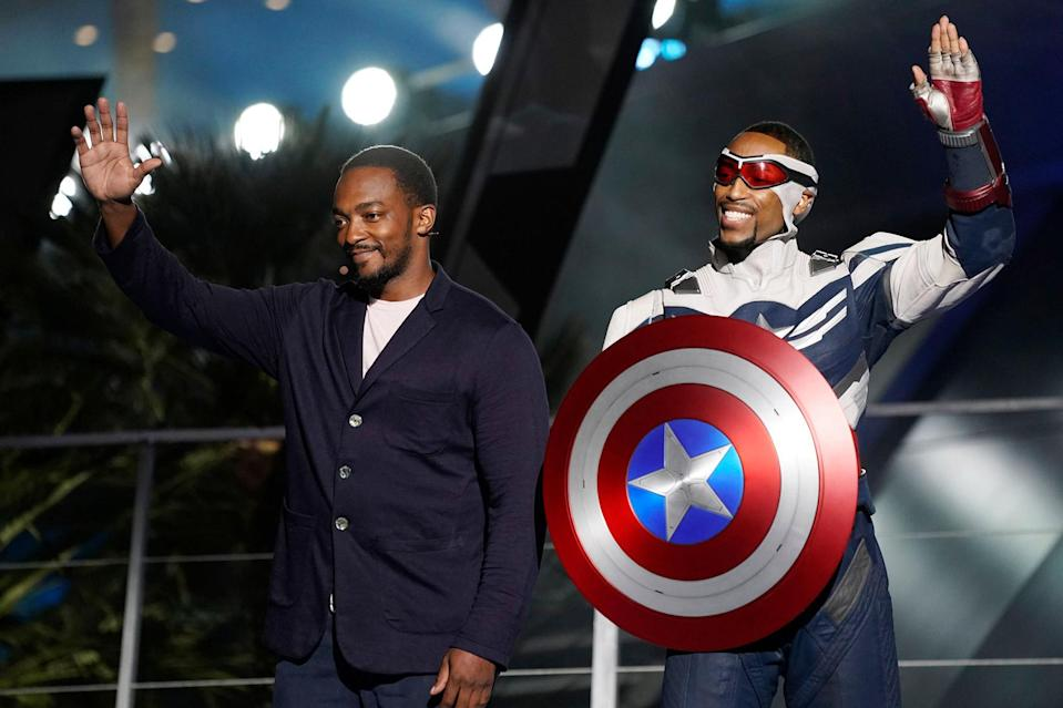 <p>Anthony Mackie and his Captain America likeness hit the stage at the Avengers Campus dedication ceremony at Disneyland's California Adventure Park in Anaheim on Wednesday night.</p>