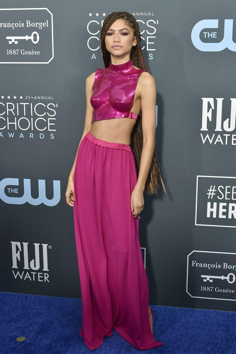 <p>Now, this is what you call a structured top! She made a real statement at the 2020 Critic's Choice Awards in this metallic crop top and maxi skirt set from Tom Ford.</p>
