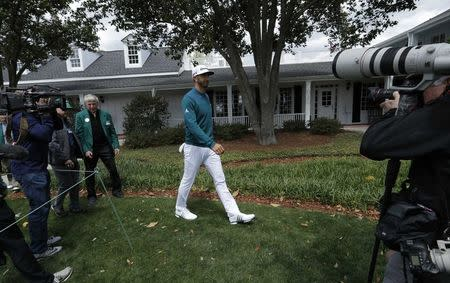 Dustin Johnson of the U.S. pulls out of the 2017 Masters in Augusta