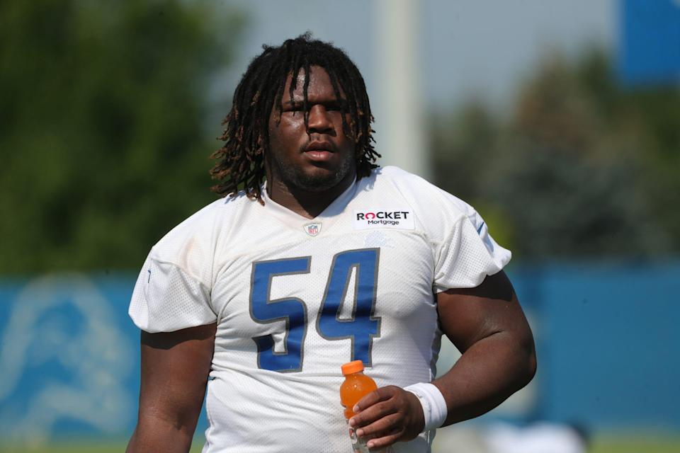 Detroit Lions nose tackle Alim McNeill walks off the field after training camp at the Allen Park facility Wednesday, July 28, 2021.