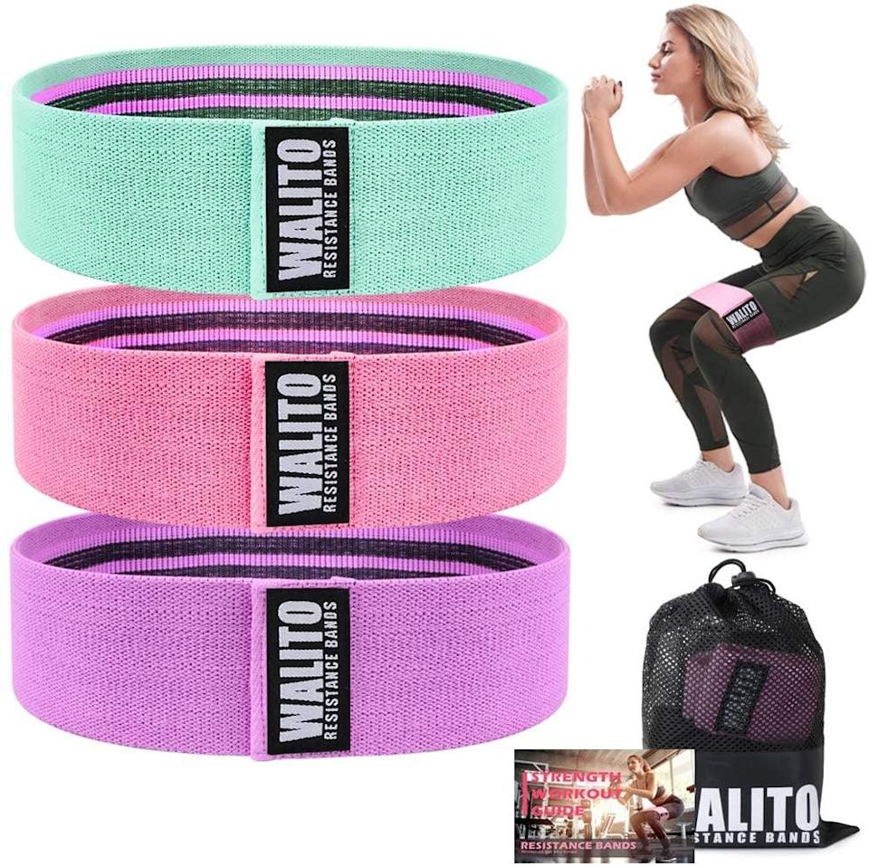 <p>If you like fabric bands, these <span>Walito Resistance Bands for Legs</span> ($14) won't budge while you squat.</p>
