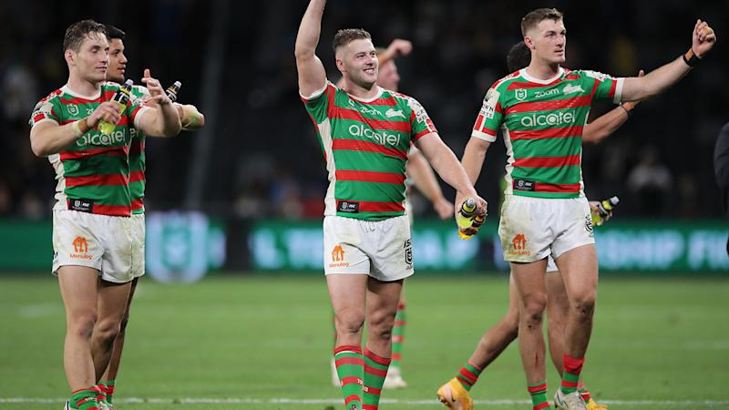 South Sydney players, pictured here celebrating their semi-final victory over Parramatta.