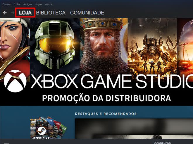 "Abra o app do Steam e acesse a aba ""Loja"" no menu superior (Captura de tela: Matheus Bigogno)"