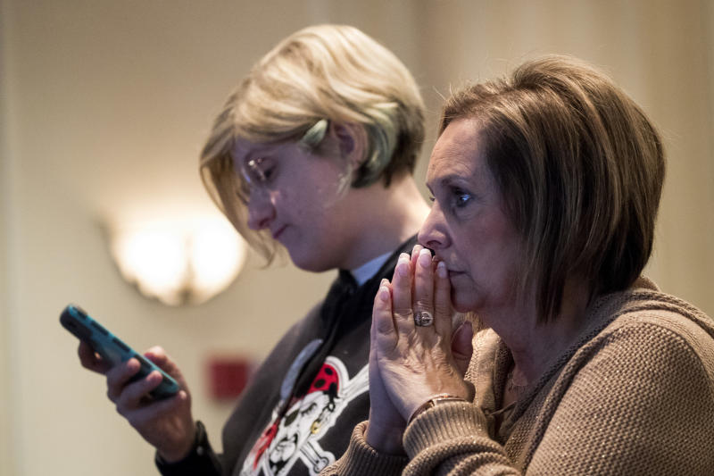 Supporters monitor election returns for Conor Lamb, the Democratic congressional candidate for Pennsylvania's 18th District, on Tuesday night in Canonsburg, Pennsylvania. (Drew Angerer via Getty Images)