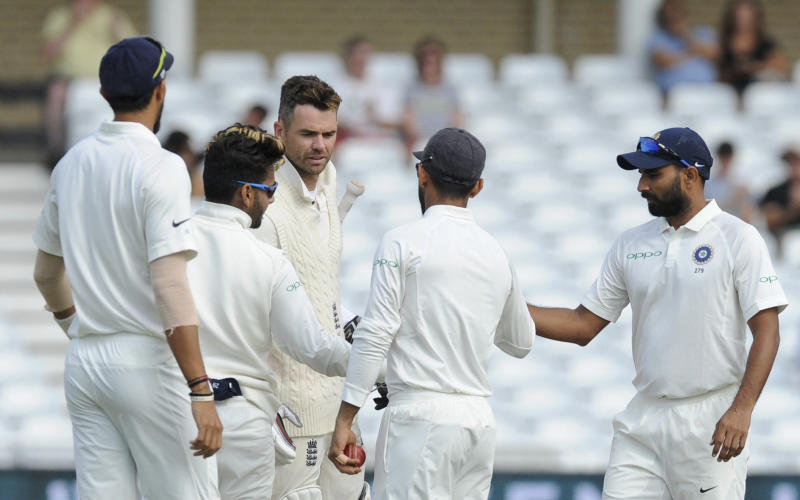 India wraps up 203 win over england in 3rd test indian cricketers greet englands james anderson at the end of the third cricket test match between m4hsunfo