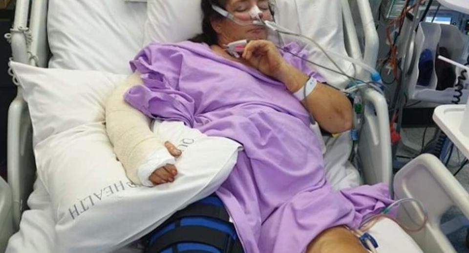 Leanne Tyrell-Raddatz in hospital recovering after a car crash