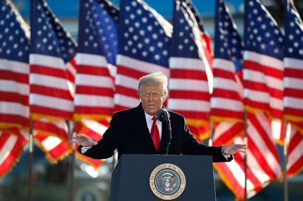 PHOTO: President Donald Trump speaks to crowd before boarding Air Force One at Andrews Air Force Base, Md., Jan. 20, 2021. (Luis M. Alvarez/AP, FILE)