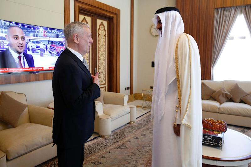 Qatar's Emir Sheikh Tamim bin Hamad Al-Thani welcomes US Defence Secretary Jim Mattis in Doha, on April 22, 2017