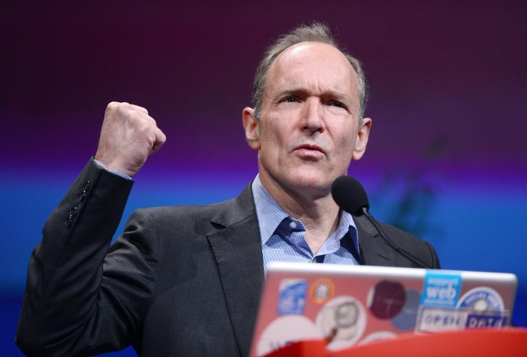 British computer scientist Tim Berners-Lee, the man credited with inventing the World Wide Web, gives a speech on April 18, 2012 in Lyon, central France