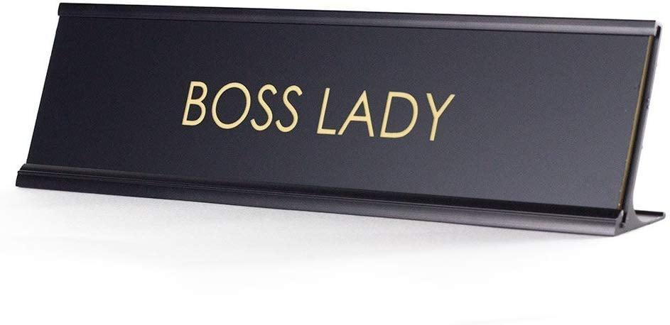 <p>We all know someone who needs this <span>Boss Lady Name Plate</span> ($14).</p>