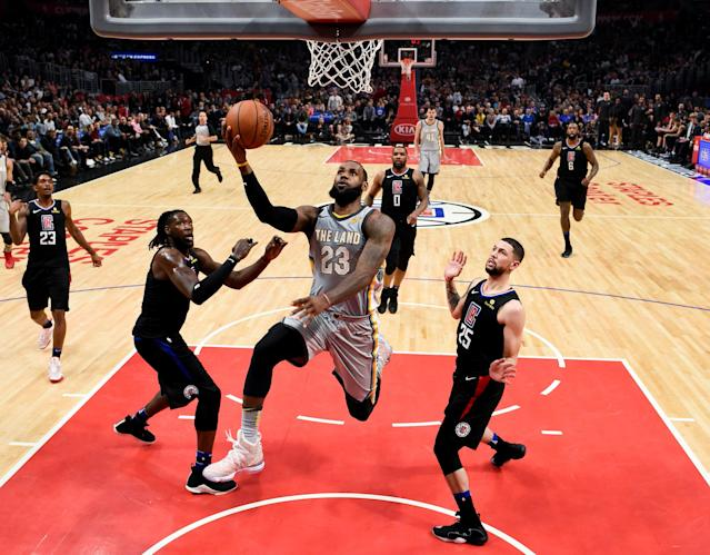Mar 9, 2018; Los Angeles, CA, USA; Cleveland Cavaliers forward LeBron James (23) attempts a shot against the Los Angeles Clippers during the second quarter at Staples Center. Mandatory Credit: Kelvin Kuo-USA TODAY Sports TPX IMAGES OF THE DAY
