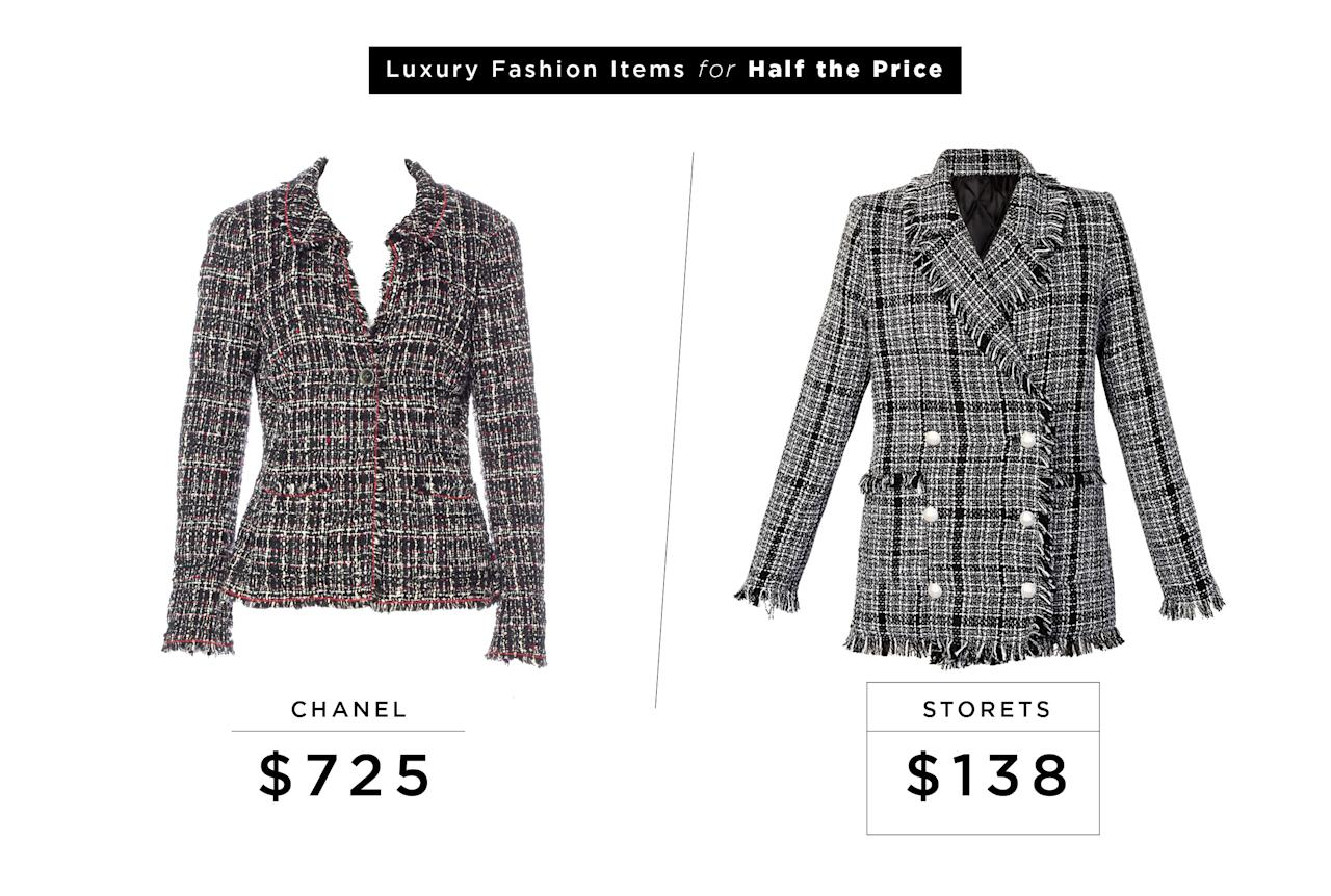 "<p>Chanel Tweed Sash Tie Blazer (Vintage), $725, <a rel=""nofollow"" href=""https://www.therealreal.com/products/women/jackets/chanel-tweed-sash-tie-blazer?sid=m9gvbv&utm_source=polyvore&utm_medium=shopping&cvosrc=cse.polyvore.polyvore&utm_source=polyvore&utm_medium=cpc&utm_campaign=Default"">therealreal.com</a><br />Storets Shauna Tweed Blazer, $138, <a rel=""nofollow"" href=""http://www.storets.com/shauna-tweed-jacket-a.html"">storets.com</a> </p>"
