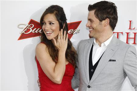 """Actors James Marsden and Minka Kelly, stars of the new film """"Lee Daniels' The Butler"""", pose at the film's premiere in Los Angeles in this file photo from August 12, 2013. REUTERS/Fred Prouser"""