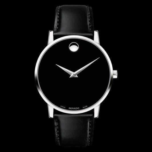 """<strong><a href=""""https://www.movado.com/us/en/shop-watches/museum-classic-0607269.html"""" rel=""""nofollow noopener"""" target=""""_blank"""" data-ylk=""""slk:Movado Museum Classic, $495"""" class=""""link rapid-noclick-resp"""">Movado Museum Classic, $495</a></strong>"""