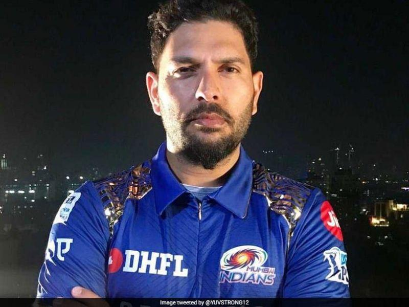 Yuvi in the Mumbai Indians colors