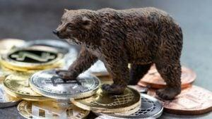 A concept image with a bear figuring standing on top of crypto tokens.