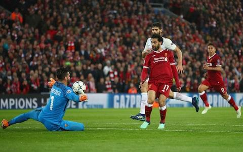 Mohamed Salah scores Liverpool's second - Credit: Clive Brunskill/Getty Images