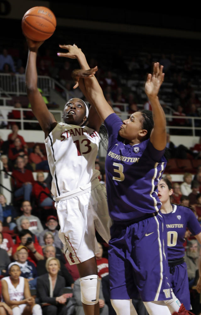 Stanford forward Chiney Ogwumike (13) shoots next to Washington forward Talia Walton (3) during the second half of an NCAA college basketball game on Thursday, Feb. 27, 2014, in Stanford, Calif. Stanford won 83-60. (AP Photo/Marcio Jose Sanchez)