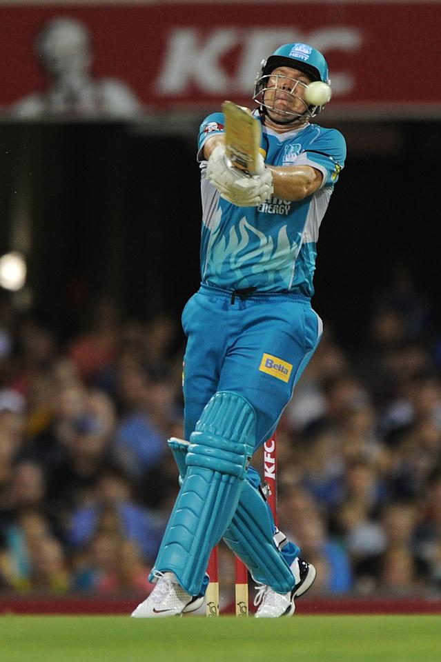 BRISBANE, AUSTRALIA - JANUARY 03:  James Hopes of the Heat bats during the Big Bash League match between the Brisbane Heat and the Melbourne Stars at The Gabba on January 3, 2013 in Brisbane, Australia.  (Photo by Matt Roberts/Getty Images)