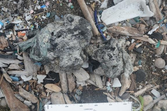 A new material called plastiglomerate has been discovered on Hawaii's Kamilo Beach. The rock is the result of melted plastic trash on beaches mixing with sediment, basaltic lava fragments and organic debris, such as shells. Shown here, a type o