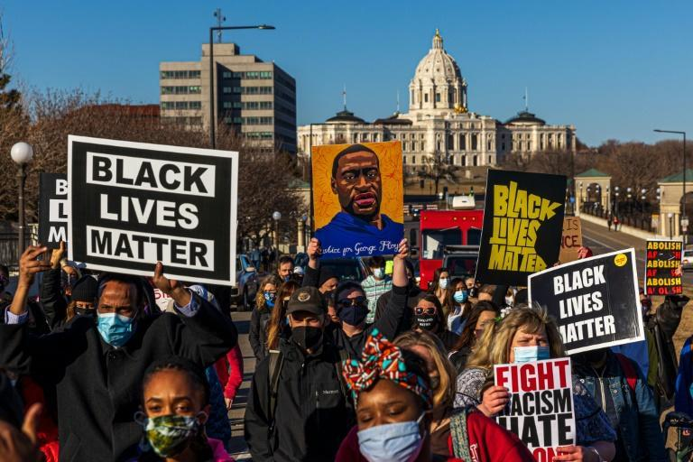Protestors at a 'Justice for George Floyd' march in Saint Paul, Minnesota