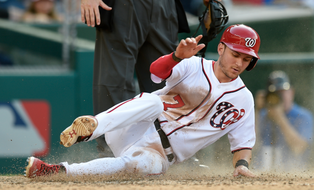 "<a class=""link rapid-noclick-resp"" href=""/mlb/players/10056/"" data-ylk=""slk:Trea Turner"">Trea Turner</a>'s ballistic stolen-base pace is on hold for now (AP)"