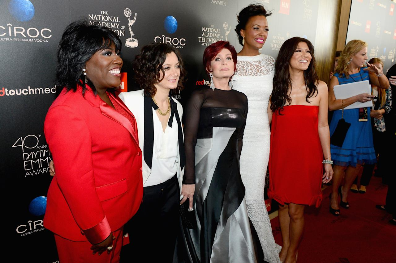 BEVERLY HILLS, CA - JUNE 16:  (L-R) TV personalities Sheryl Underwood, Sara Gilbert, Sharon Osbourne, Aisha Tyler and Julie Chen attend The 40th Annual Daytime Emmy Awards at The Beverly Hilton Hotel on June 16, 2013 in Beverly Hills, California.  (Photo by Mark Davis/Getty Images)