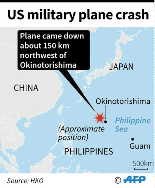 Map showing the area where a US military plane crashed